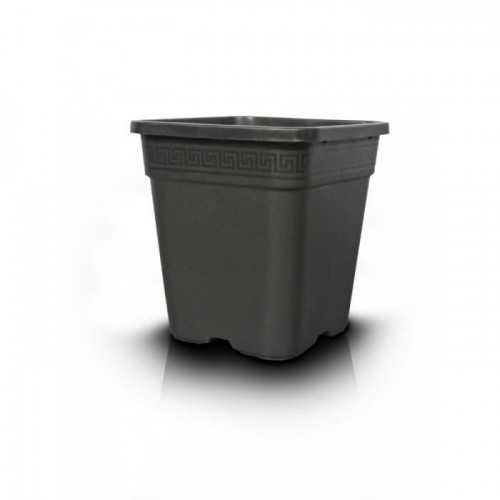 Pot carré en plastique noir 30l