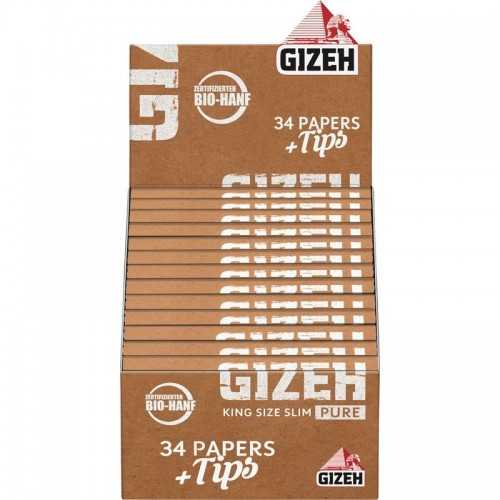 "Carton de feuille à rouler GIZEH ""Pure"" King Size Slim + Tips"