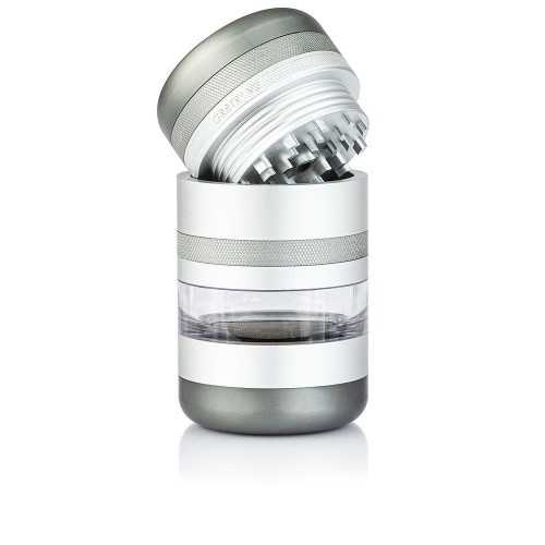 Grinder Kannastör Silver GR8TR® V2 + fenêtre en verre + tamis